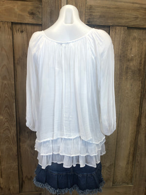 Silk Blouse, 3/4 Sleeve Tiered Layers