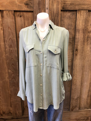 Button Up Hi/Lo Long Sleeve Blouse & Roll Tab
