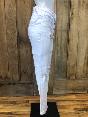 Distressed Ankle Skinny Jeans White