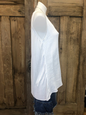 Sleeveless Linen/Cotton Hi/Lo Top