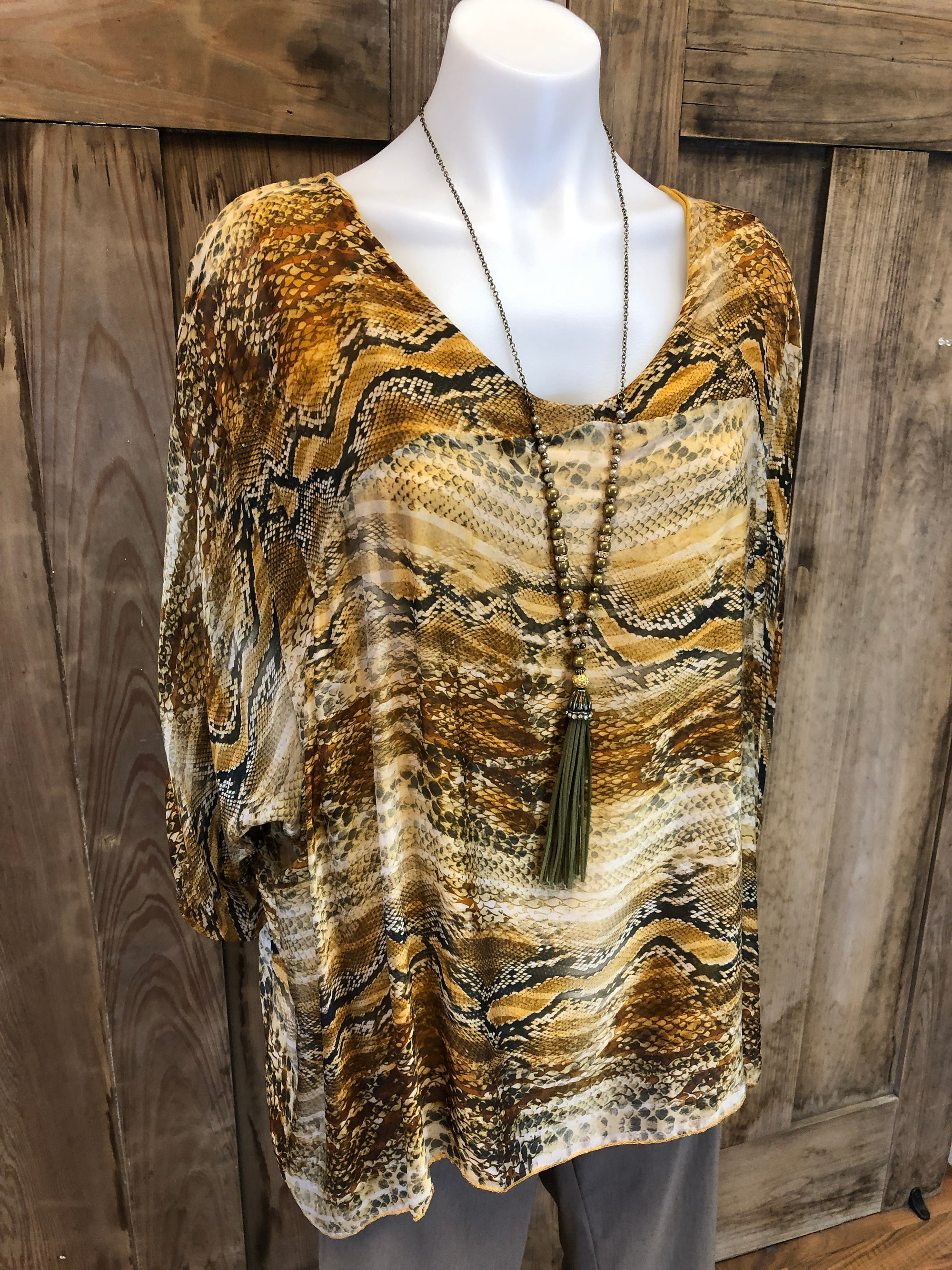 Silk Top, Snake Print, Roll Tab Sleeves