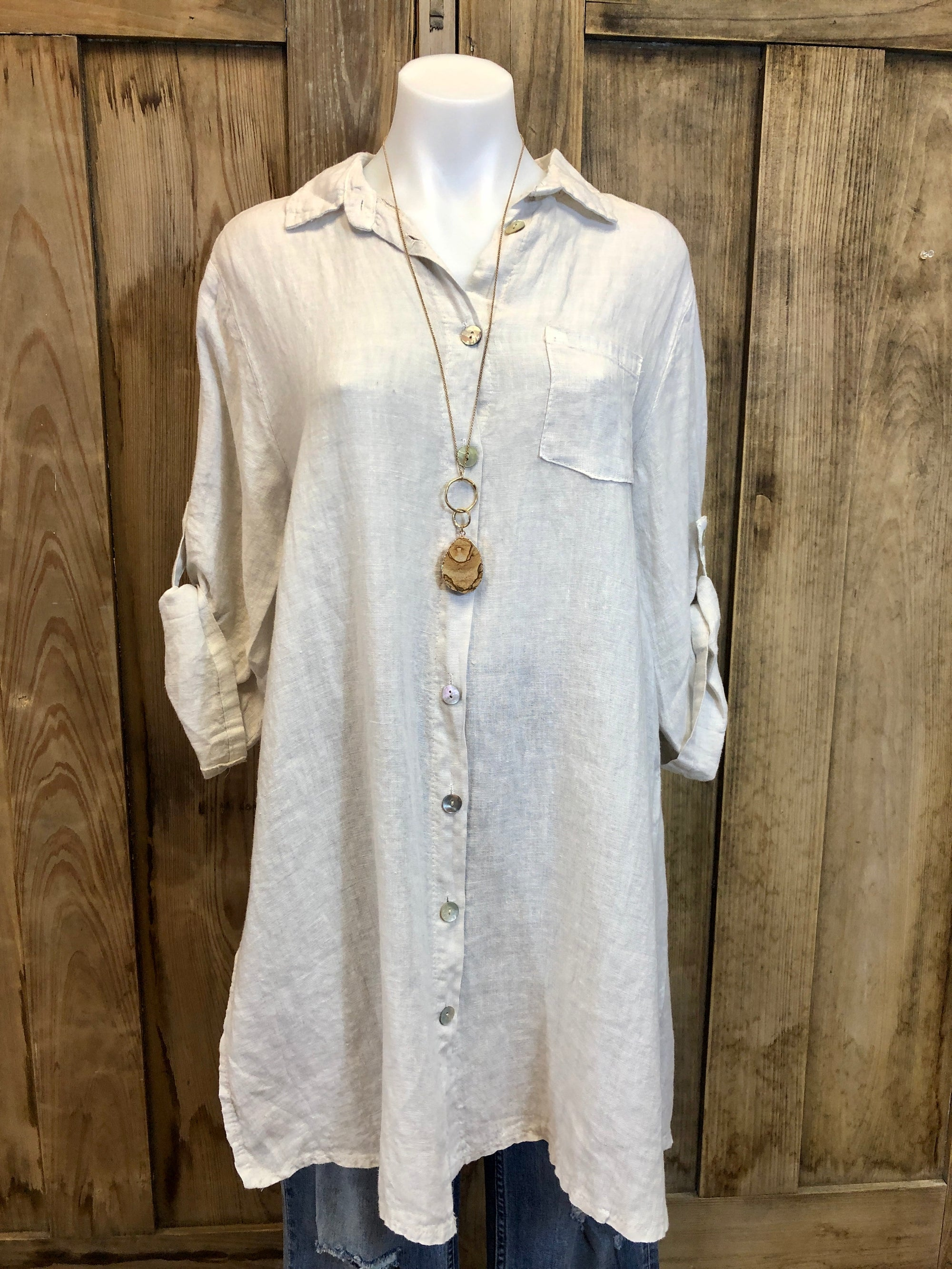 Top, Tunic, Linen, 3/4 Sleeve , Button Up, Collar