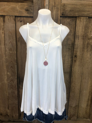 Tank, Tunic Adjustable Strap, Lace Trim