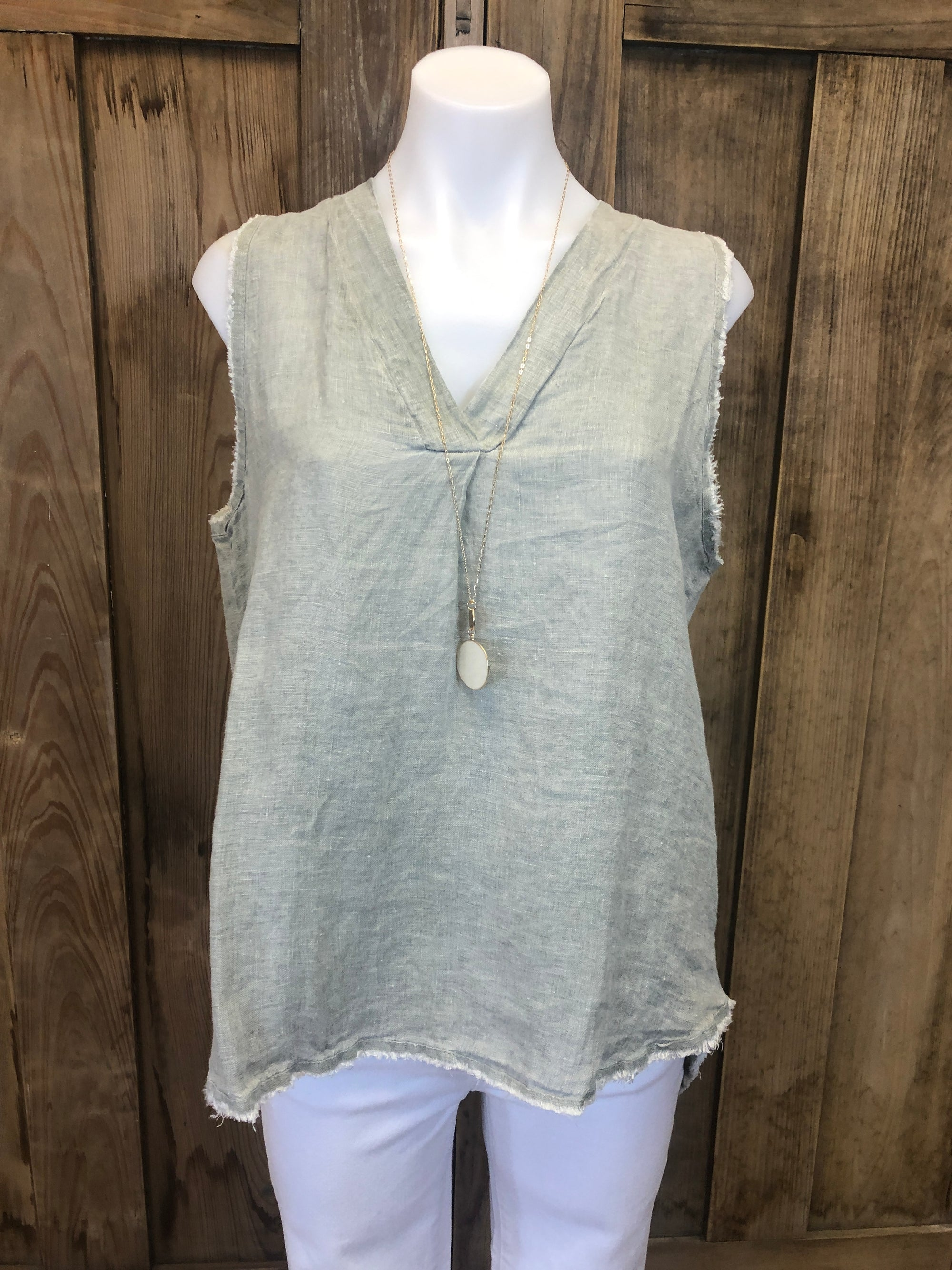 Sleeveless Linen V-Neck Long Tank