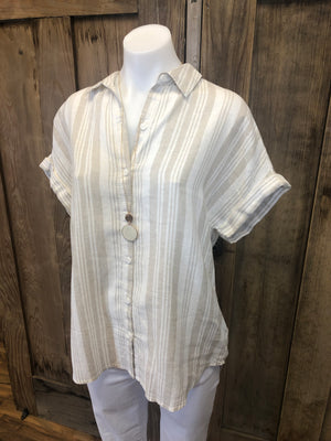 Short Sleeve Linen & Cotton Button Up Top