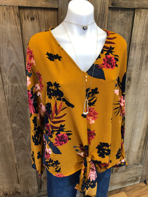 Top Long Sleeve, Tie Front, Floral Print