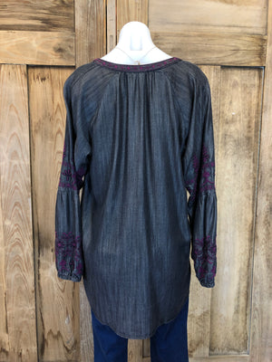 Top Long Sleeve, Embroidery, Boho