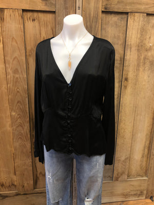 Silky Button Front Blouse
