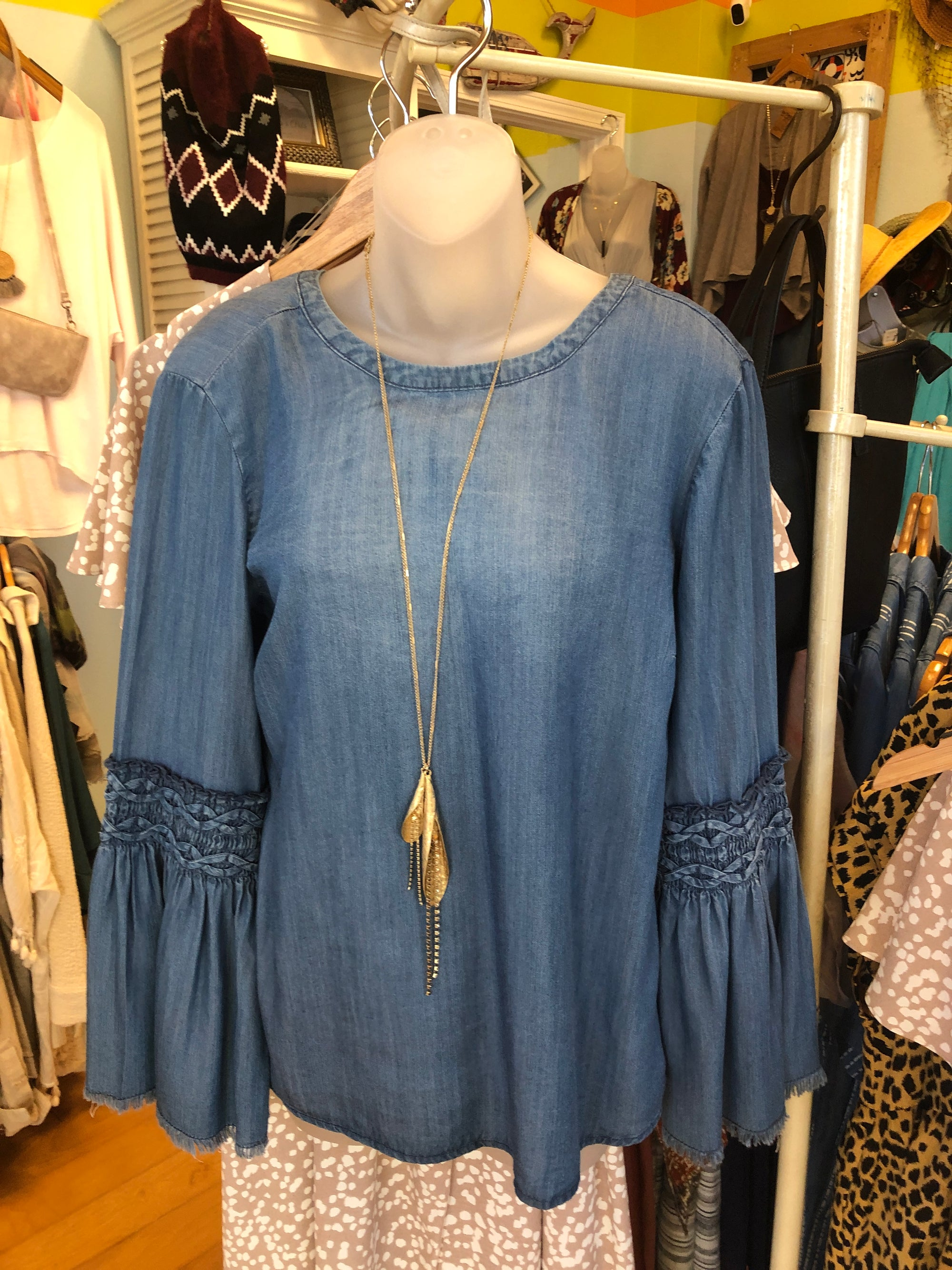 Tencel Boho Top With Bell Sleeves