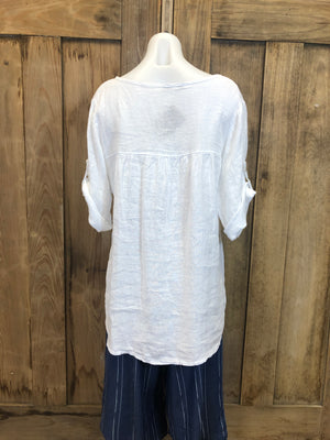 Linen Top, Cuffed 3/4 Sleeve, Hi/Lo