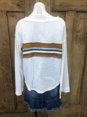 Top Long Sleeve With Raw Edge Detail
