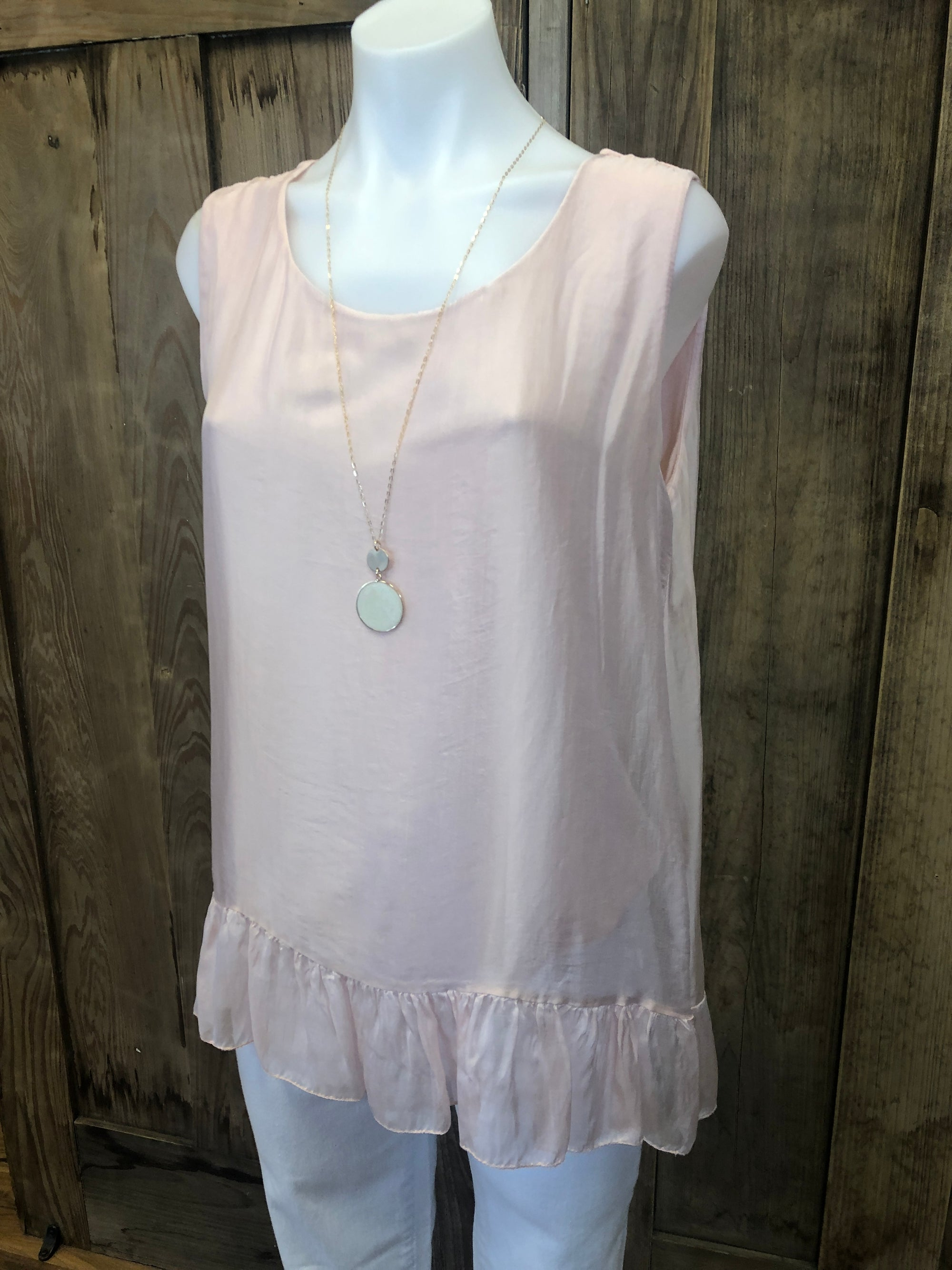 Sleeveless Silk Top With Ruffled Hem
