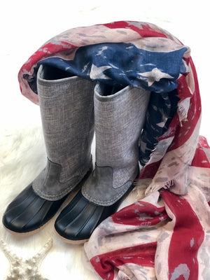 Rain Boot, Grey Linen texture upper side zipper