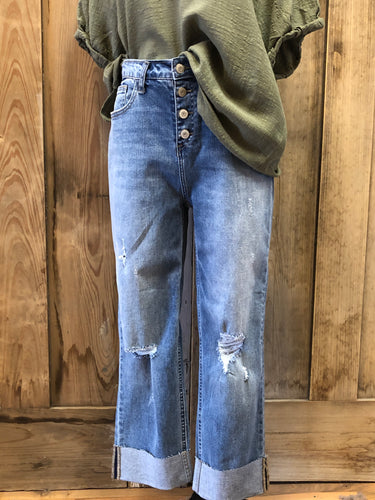 High Waist Button Front Distressed Cropped Jeans