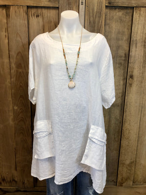 Top, Tunic, Linen, Front Pockets