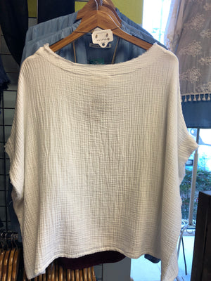 Gauze Cotton Top, Dolman Sleeves