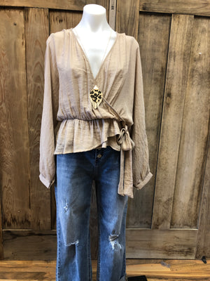 Crossed Front Blouse With Long Puff Sleeve