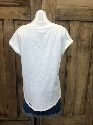 Short Sleeve Top, V-Neck, Distressing