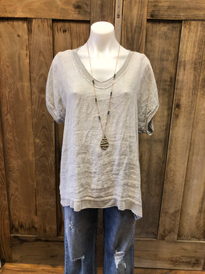 Top V-Neck Linen Front & Knit Back