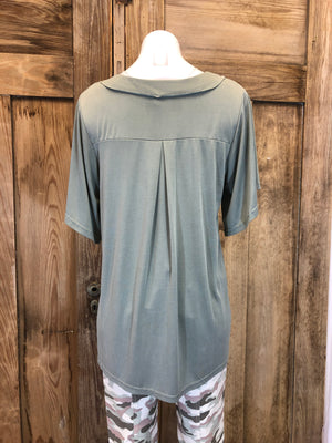 Top Short Sleeve, Button 1/2 Front,