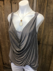 Sleeveless Draped front Hi/Lo top