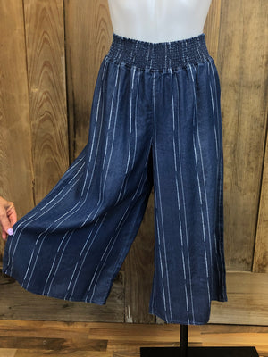 Tencel Palazzo Pants, Cropped, Wide Leg, Elastic Waist