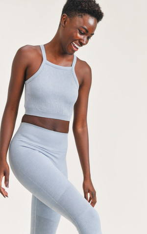 Square Front Ribbed Cropped Tank Top