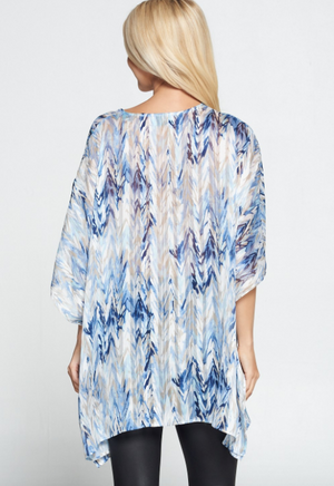 Abstract V-Neck Poncho Top