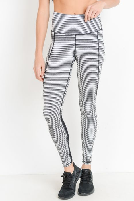 Monochrome Tiramisu Highwaist Colorblock Full Leggings