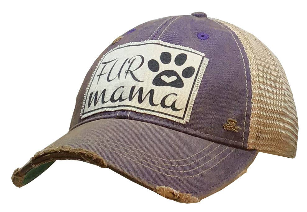 Fur Mama Distressed Trucker Hat Baseball Cap