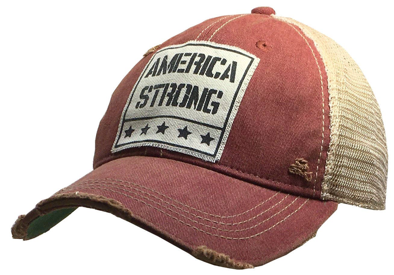 America Strong Distressed Trucker Hat Baseball Cap