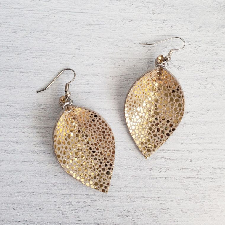 Mini Gold Stingray Pinched Leather Earrings