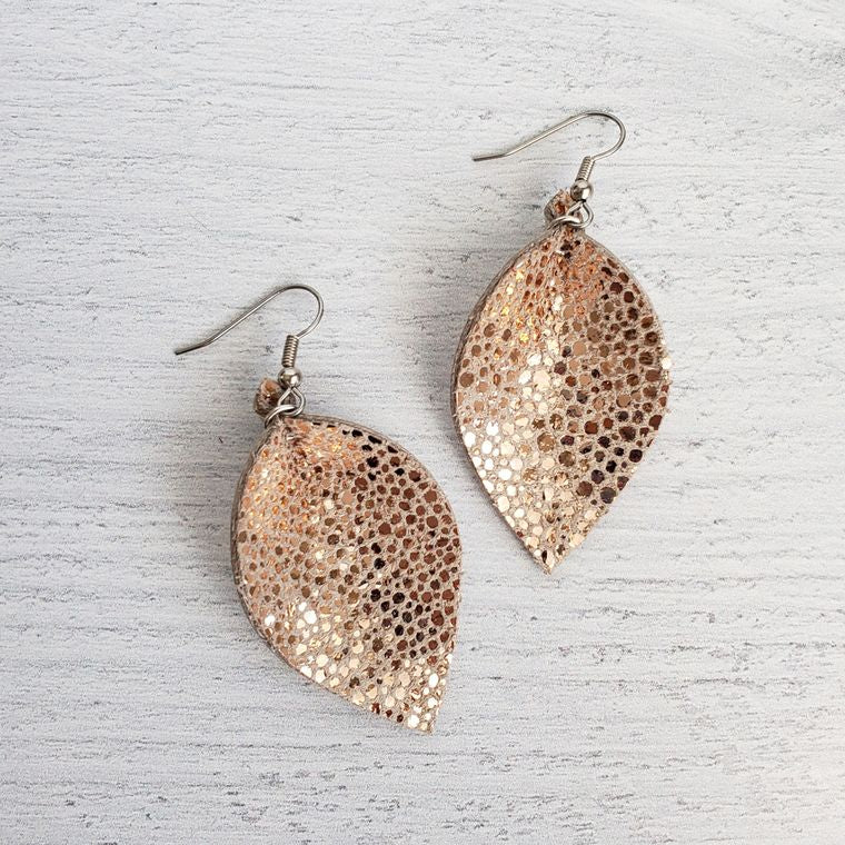 Mini Rose Gold Stingray Pinched Leather Earrings