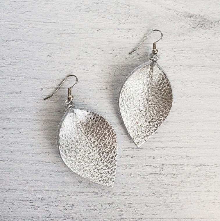 Mini Silver Pinched Leather Earrings