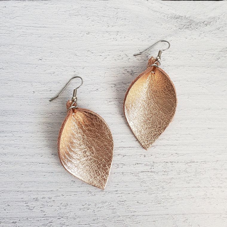 Mini Rose Gold Pinched Leather Earrings