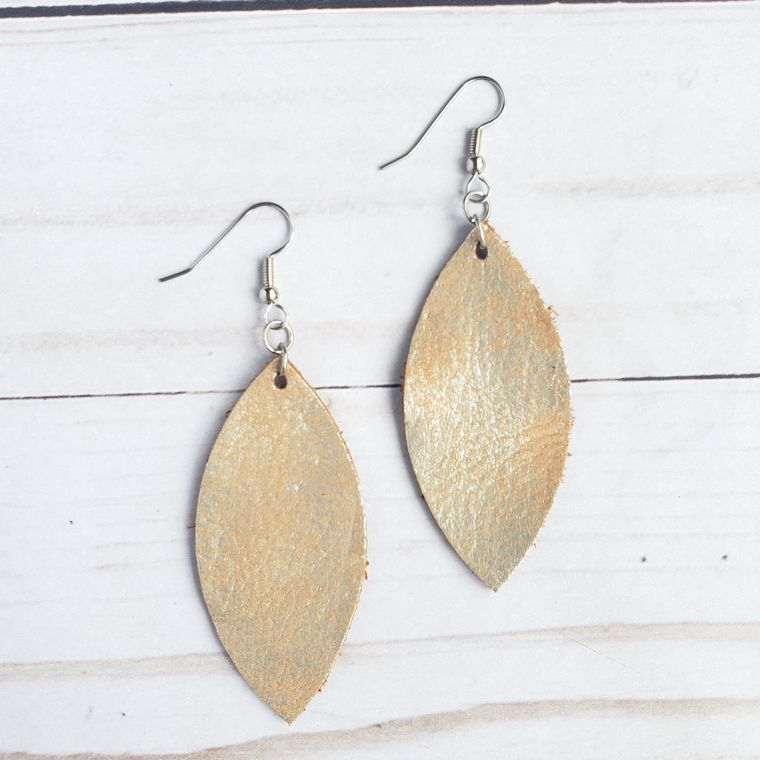 Platinum Gold Leather Petal Earrings
