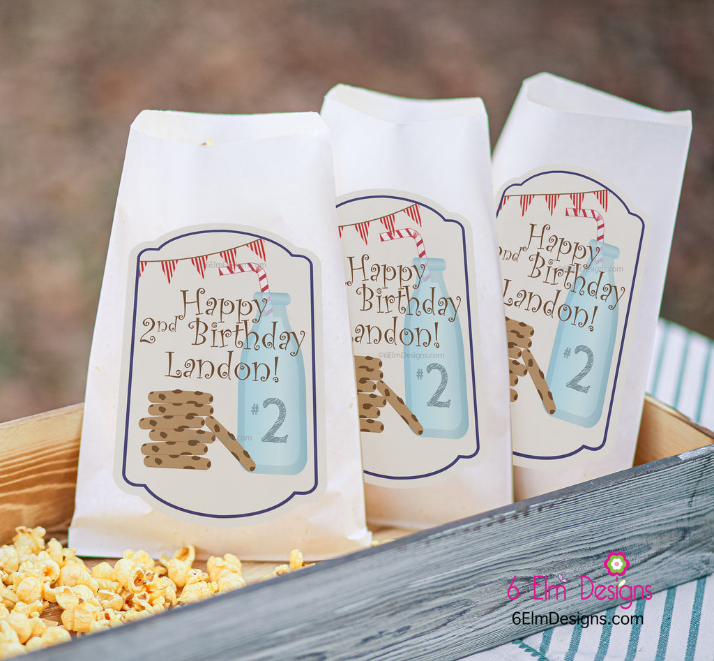 Cookies and Milk Birthday Party Favor Bags, Milk and Cookies Cookie Bags, Chocolate Chip Cookies Goody Bags