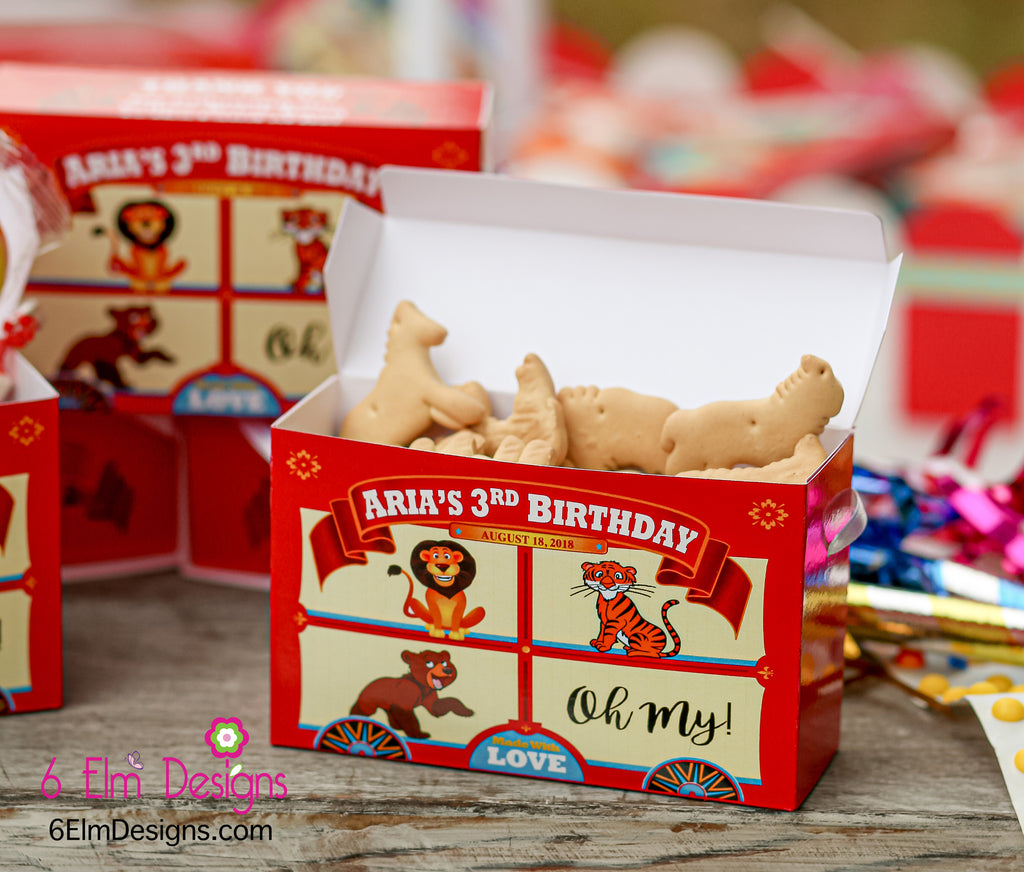Lions Tigers and Bear Oh My! Animal Cracker Wizard of Oz Themed Party Favor Boxes