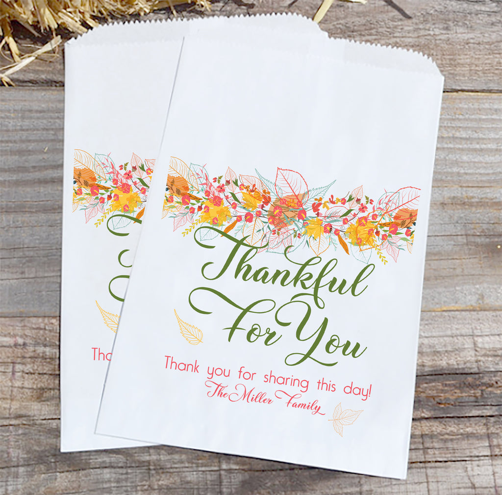 Thankful for You Family Thanksgiving Favor Bags