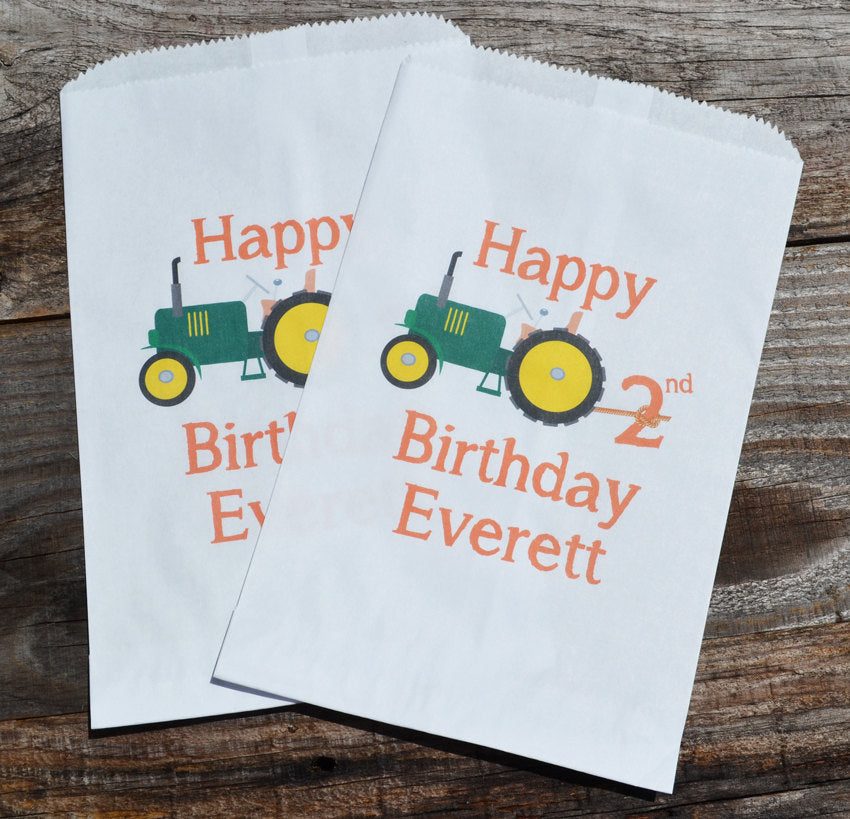 Tractor Farm Party Favor Bags | Farm Theme Birthday | Green Tractor Favors | Farm Goodie Bags | Candy Bags | Farmer Birthday Party | Popcorn