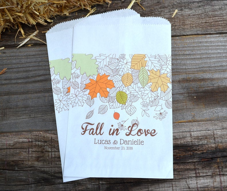 Fall in Love Leaves Wedding Favor Bags