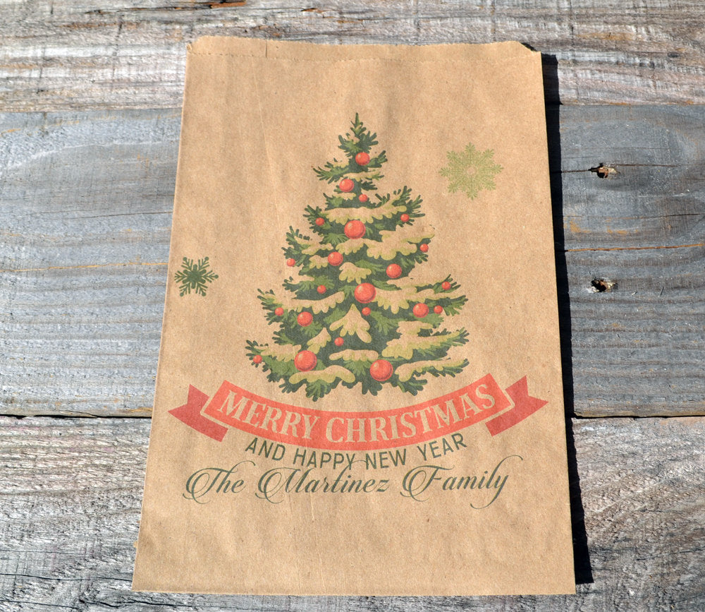Christmas Tree Vintage Personalized Bags