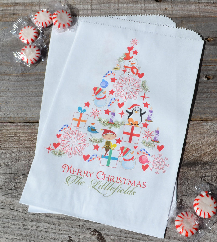 Christmas Tree Bag Personalized Goodie Bags | Christmas Candy Bag | Christmas Treat Bag | Merry Christmas Popcorn Bags |Personalized Bags
