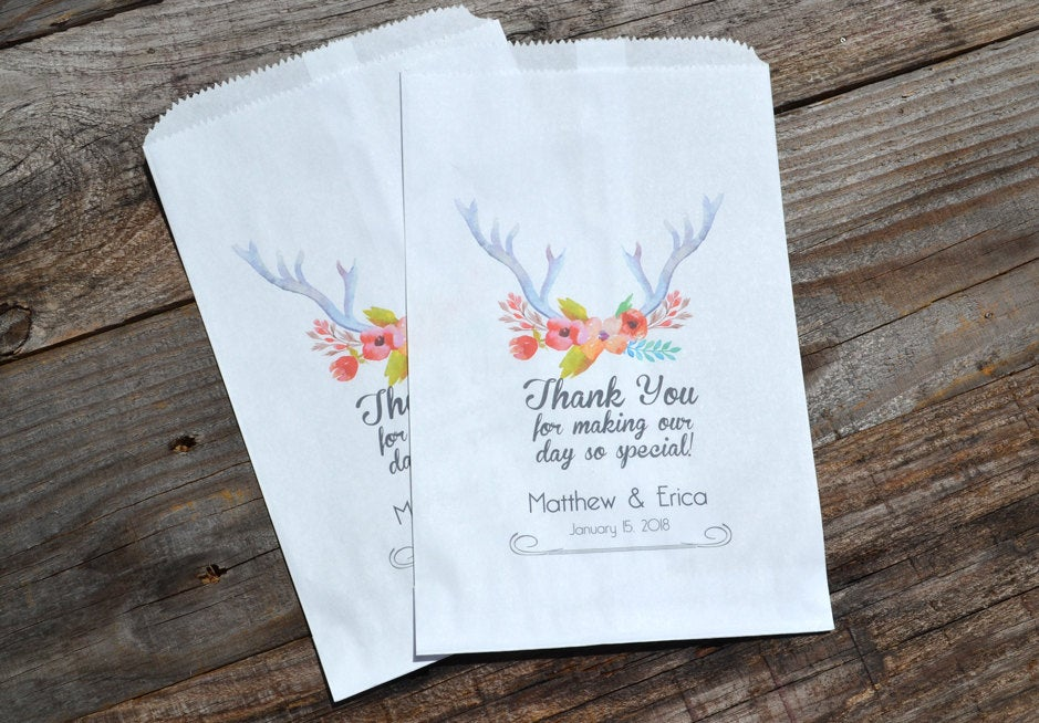 Deer Antler Flowers Favor Bags