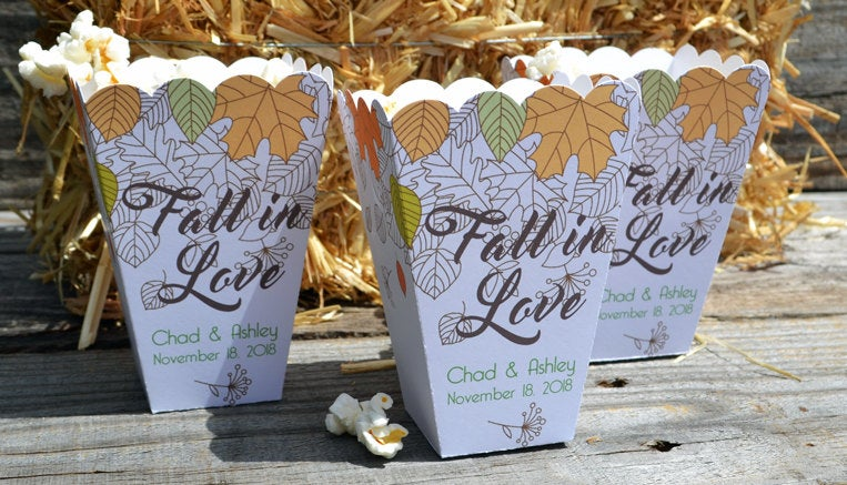 Fall in Love Fall Wedding Favor Popcorn Box