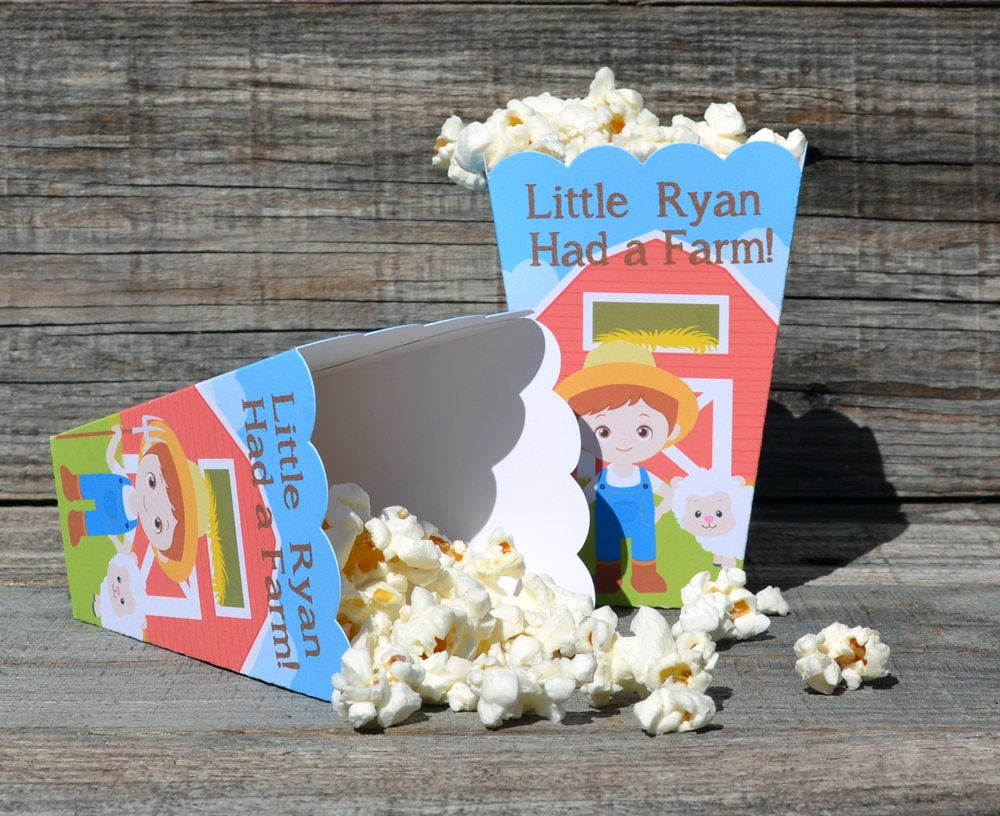Farmer Boy Farm Party Popcorn Boxes with Red Barn