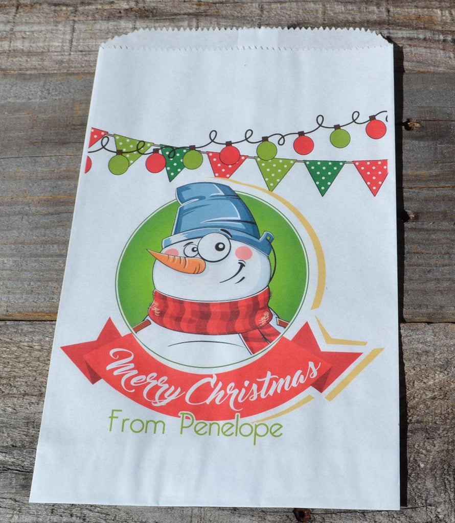 Snowman Bag Personalized Goodie Bags | Christmas Candy Bag | Christmas Treat Bag | Santa Claus Popcorn Bags | Candy Bar |Personalized Bags