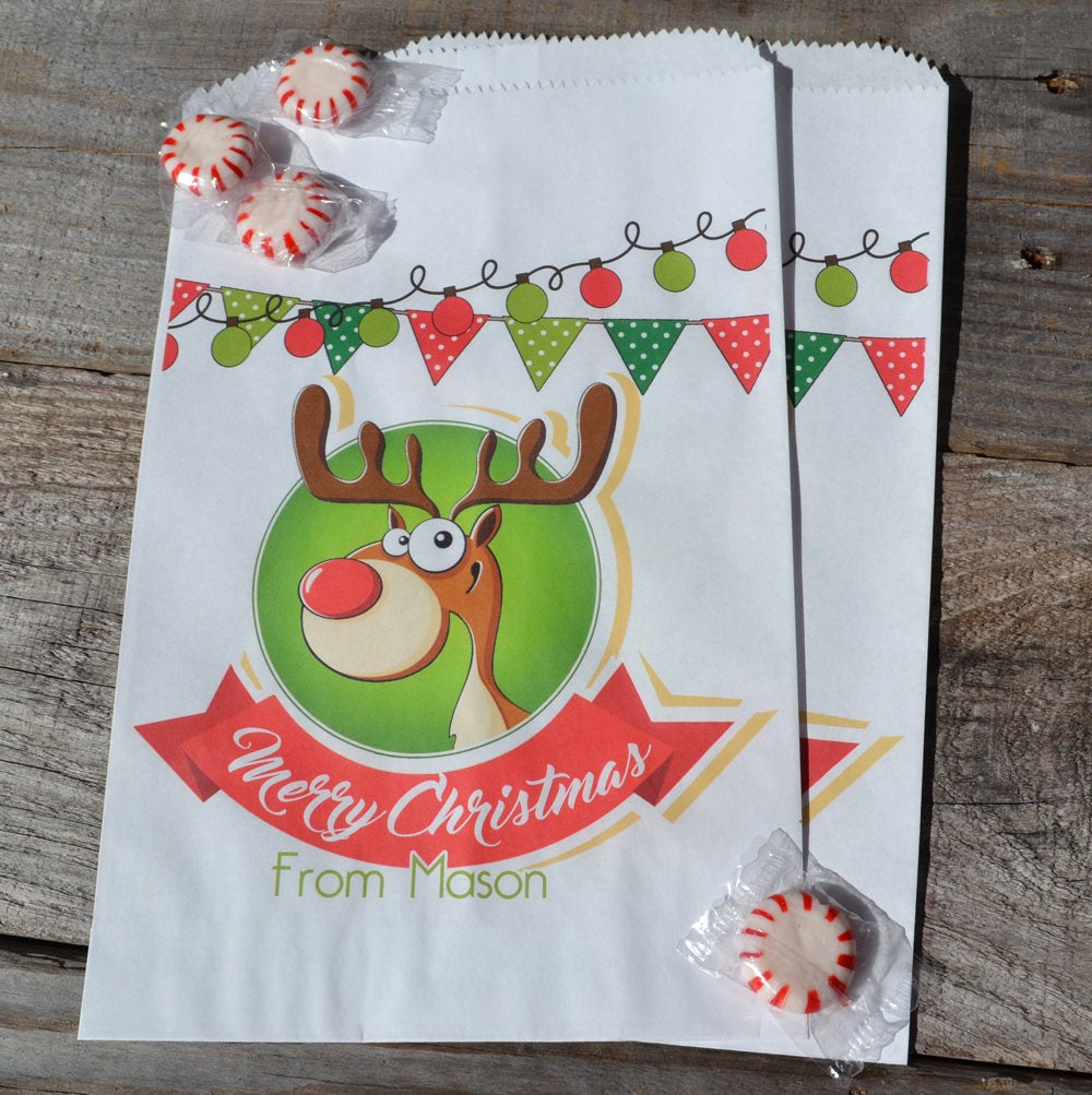 Reindeer Personalized Goodie Bags | Holiday Party Candy Bags | Smores Kits | School Party Bag | Cookie Bags | Christmas Favor Bags | Xmas