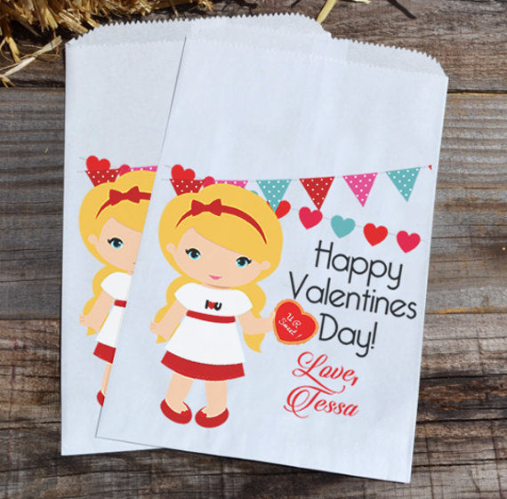 Blonde Girl Personalized Valentines Day Goodie Bags | Valentine Girl Party Favors | Valentine Party Paper Bags | Goody Bags | Candy Bags