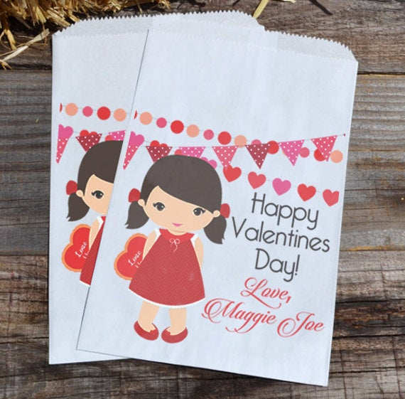 Little Girl Personalized Valentines Day Goodie Bags